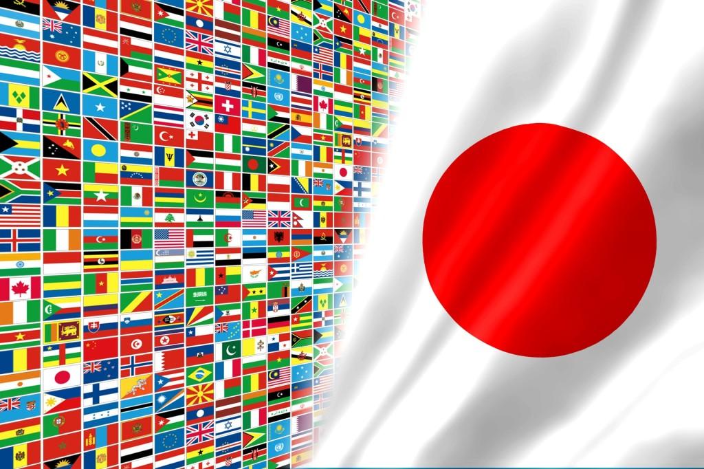 日本と世界の国旗 五輪イメージ