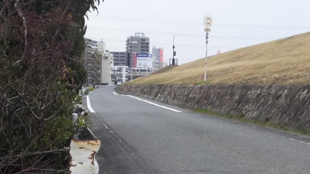 淀川河川敷沿い道路 木川南小学校西側 南方駅方面