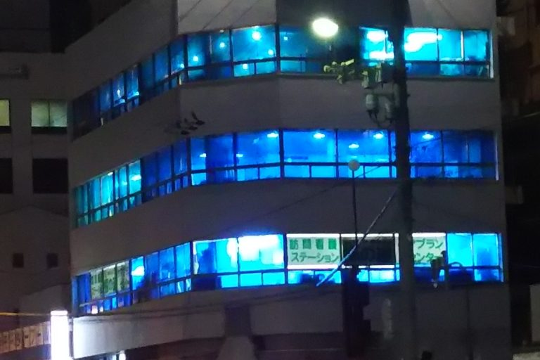 水交ビル 十三アオクスル祭り ブルーライトアップ