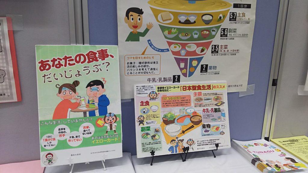 淀川区役所 1階ギャラリー 食育の展示の一部