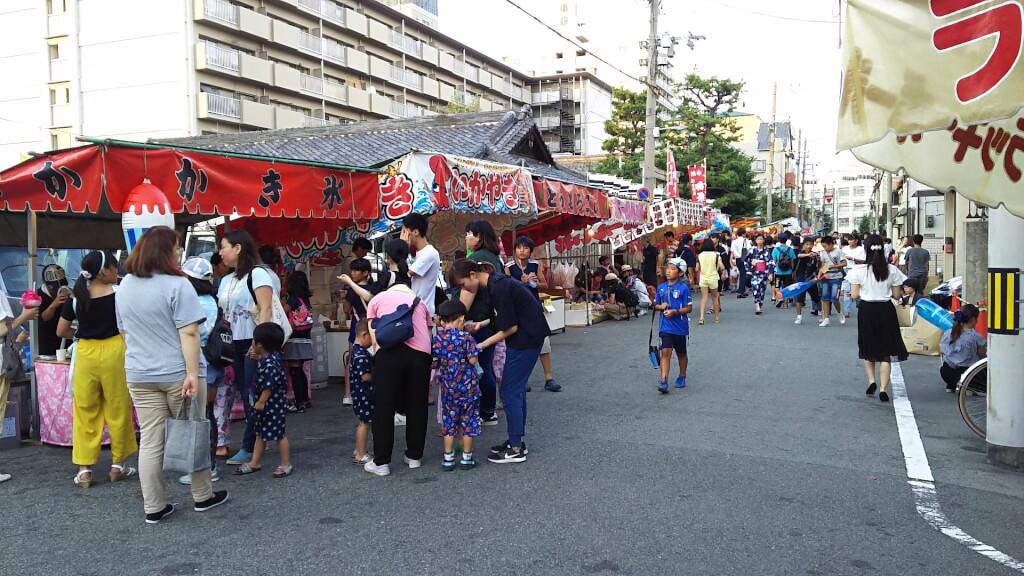 塚本神社付近 道路上 出店
