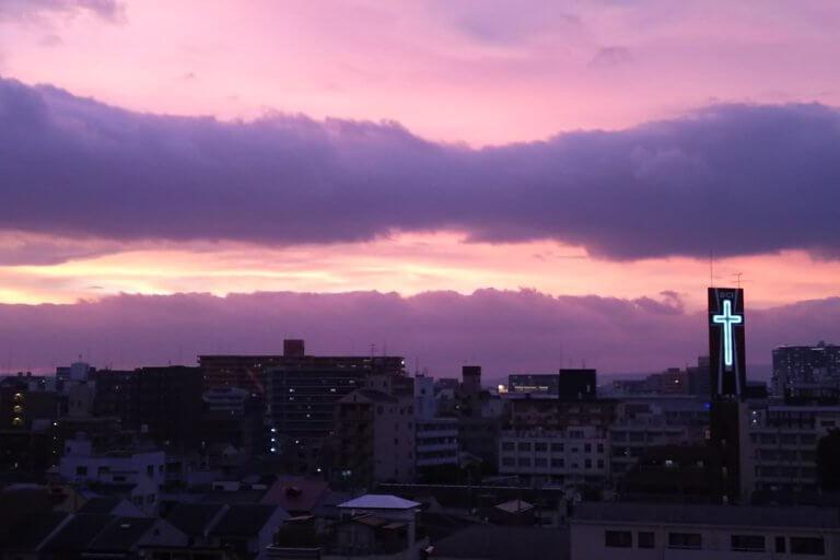 2018年7月 台風通過 前夜の 夕焼け