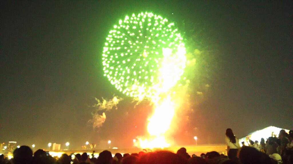 第30回 なにわ淀川花火大会 緑の花火
