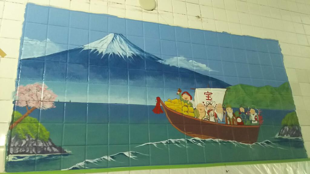 湯島ちょこ ライブ ペインティング 富士山と 舟と 七福神