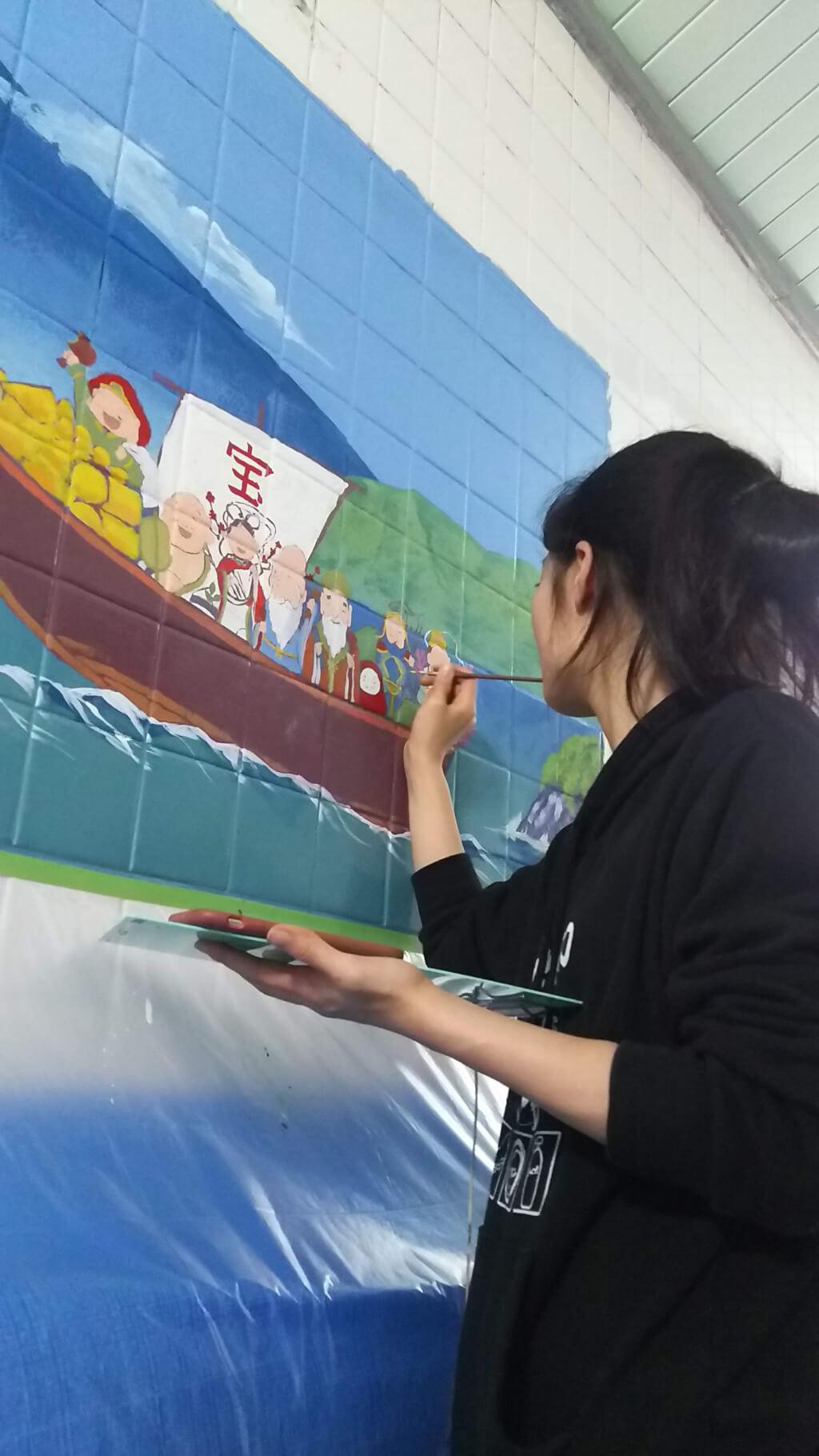 湯島ちょこ ライブ ペインティング 舟と 七福神 書き込み中