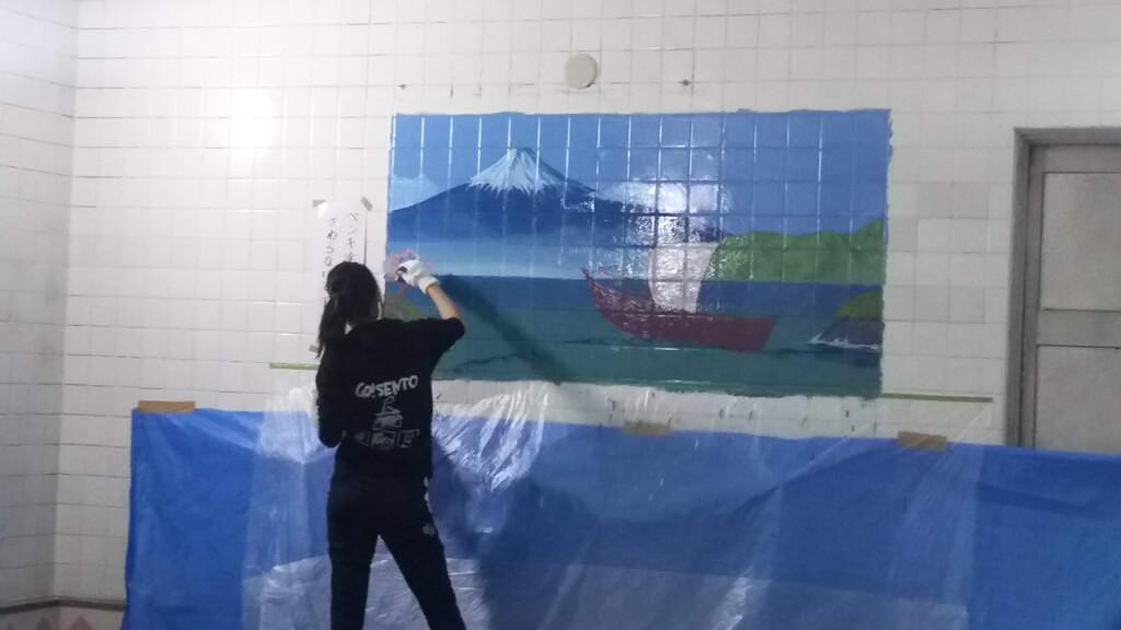 湯島ちょこ ライブ ペインティング 富士山と ライブペインティング