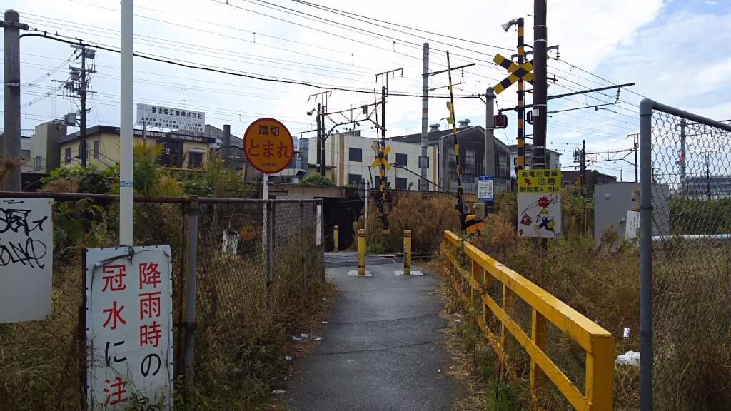 田川踏切 北側から
