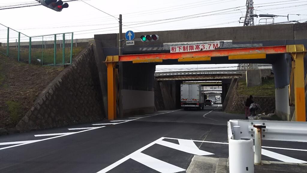 阪急京都線 新淀川橋梁 北詰と 堤防横 一方通行路の工事跡