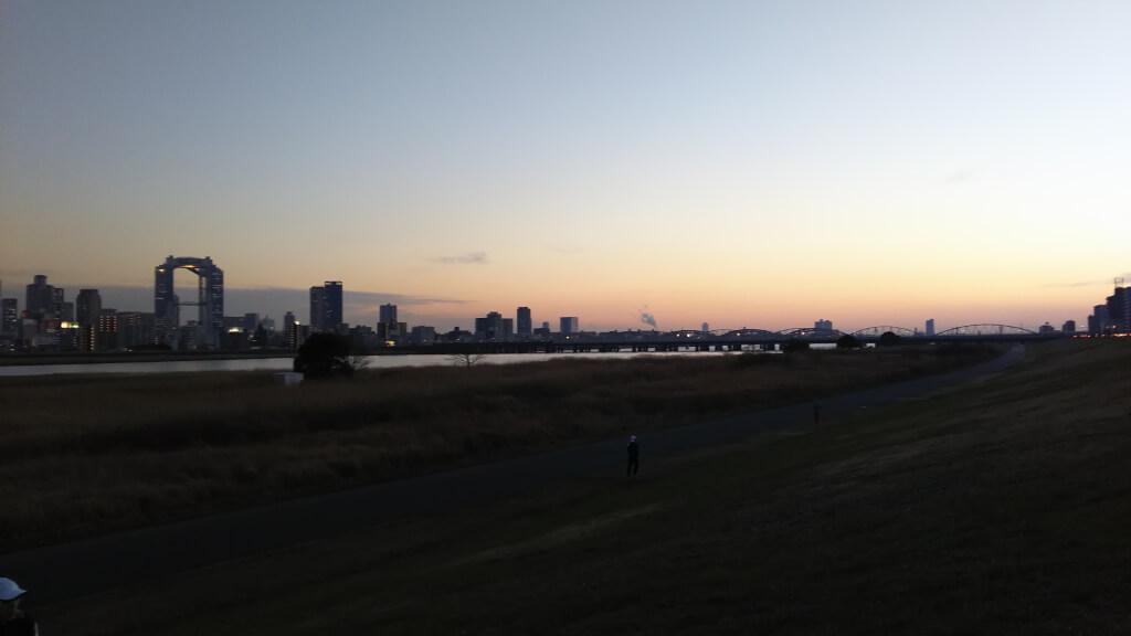 淀川河川敷 西中島地区 夕焼けの時間帯の様子