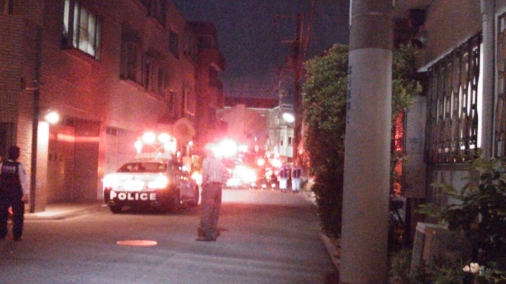十三東 火災現場 近く パトカー