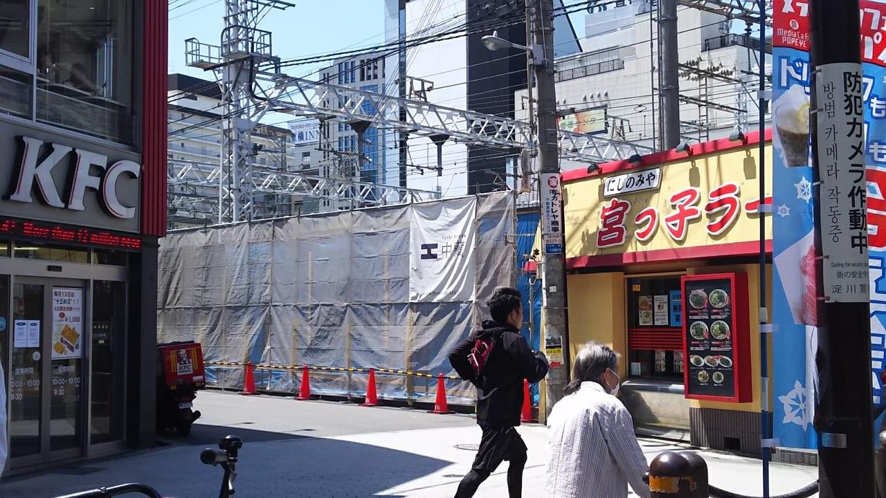 阪急そば 十三東口店 跡地 2019年3月31日の様子