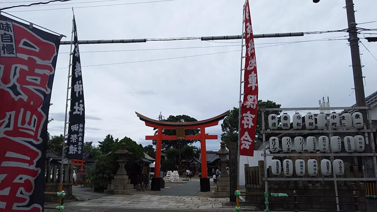 姫島神社 夏祭り 2019 鳥居とのぼり