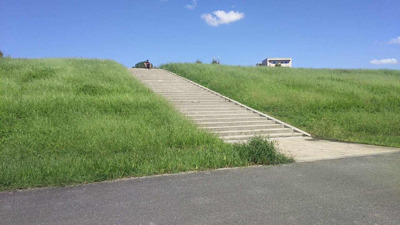 淀川河川敷の堤防と 青空