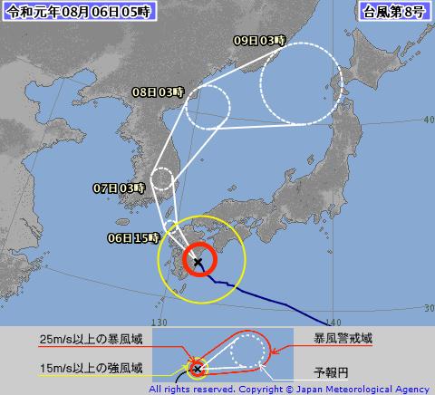 2019年 台風8号 進路予想図