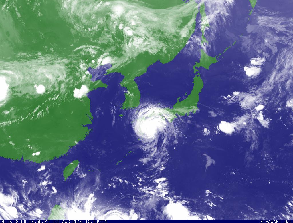 2019年8月6日 台風8号による 雨雲の分布