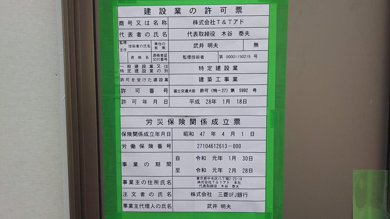 大西ビルの 建設業の許可票