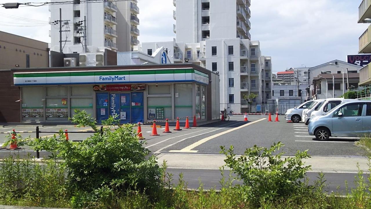ファミリーマート 淀川新高2丁目店と 西松屋淀川新高店への道