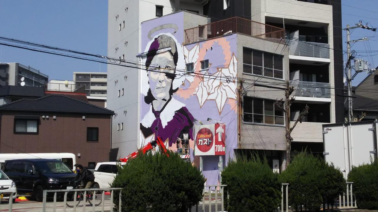 2021年3月15日 淀川区役所 東隣の壁